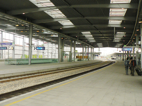 Platforms of the new station at the Praterstern in Vienna